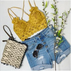 LAST ONE! Mustard Lace Padded Bralette